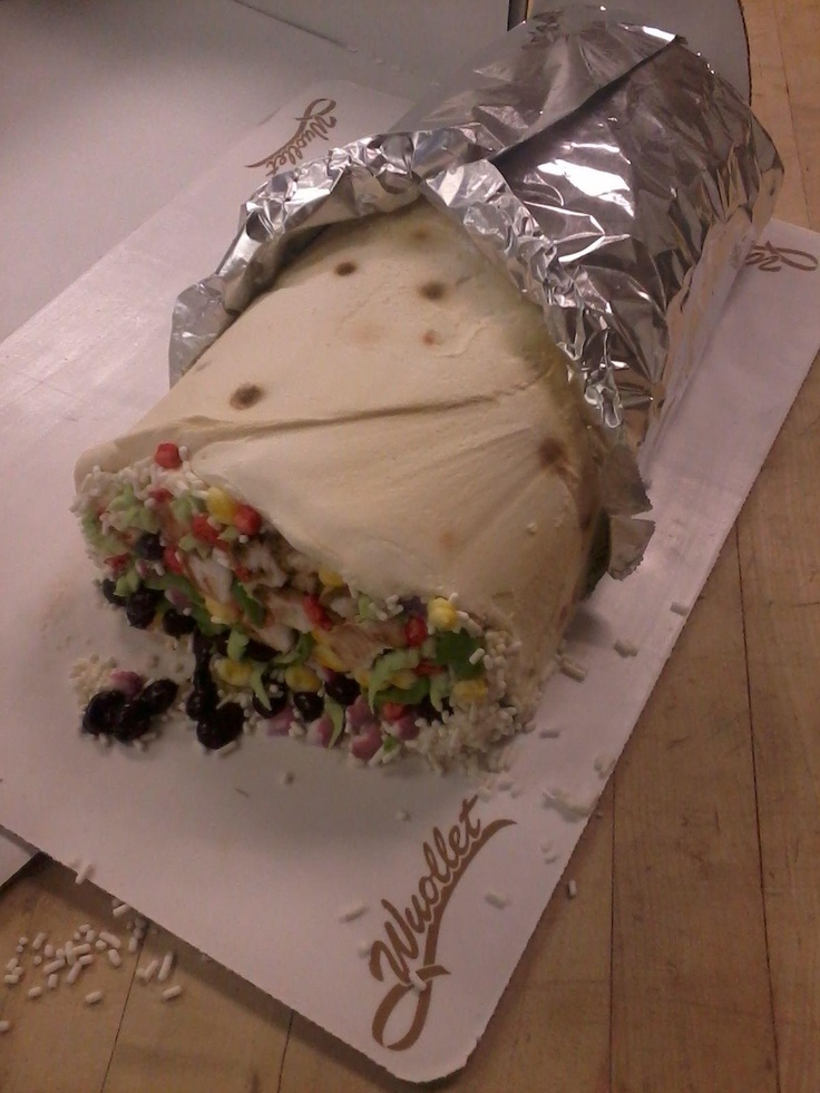 Ultra-realistic burrito cake... I know that there are amazing things done with cake... But if the foil is edible.... Then that's awesome!!!!!