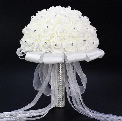 Wedding Bouquet artificiale della Rosa Mazzi Bella damigella d'onore nuziale fiore di cristallo strass fiori artificiali di seta bianca