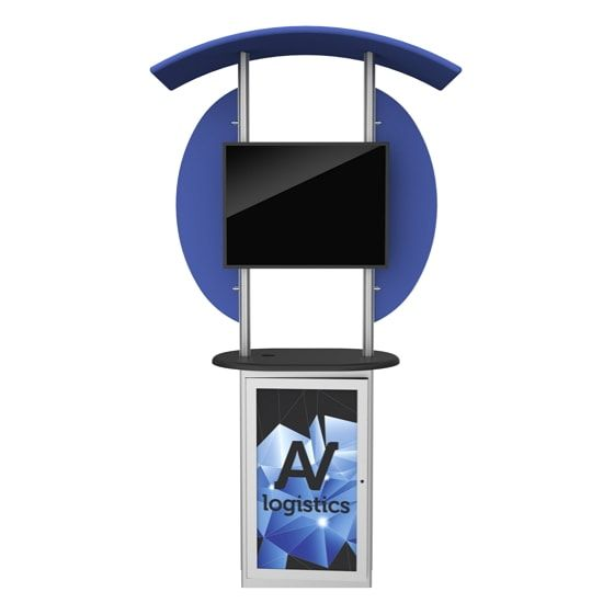 Hybrid Pro Modular Kiosk C is an extrusion based kiosk featuring a fabric graphic canopy, rigid counter infills and accent wings. Store in-booth materials inside the lockable counter, which includes an internal shelf, and easily add a monitor to engage visitors, whether in the office lobby or on the trade show floor.