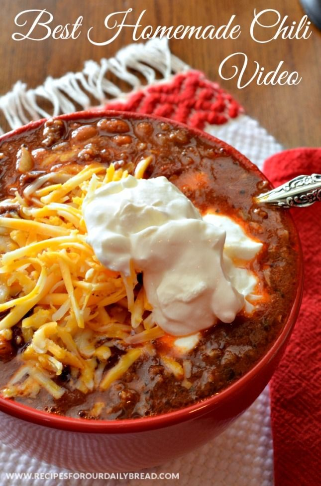 Best Homemade Chili with Video - This is perfect for a cold day.  Over 22K views on Pinterest. http://recipesforourdailybread.com/2013/01/10/best-homemade-chili-video/ #chili #soup