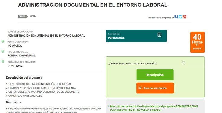 CURSO VIRTUAL ADMINISTRACION DOCUMENTAL EN EL ENTORNO LABORAL
