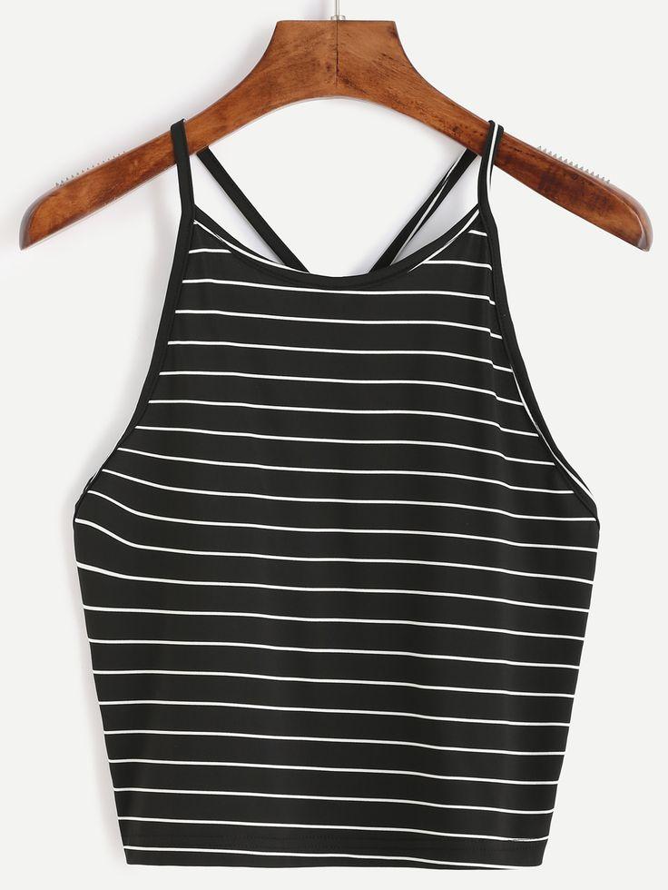 Black Striped Cami Top