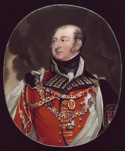 Henry Bone R.A., Frederick, Duke of York and Albany (1763-1827), wearing Field Marshal's scarlet uniform, white silk lined black velvet mantle, collar and breast star of the Order of the Garter and collar of the Order of the Bath