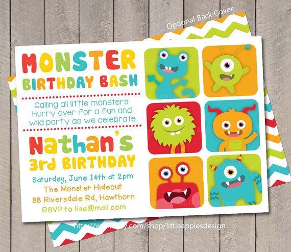 Little Monster Invitation / Monster Invite / by LittleApplesDesign, $12.00