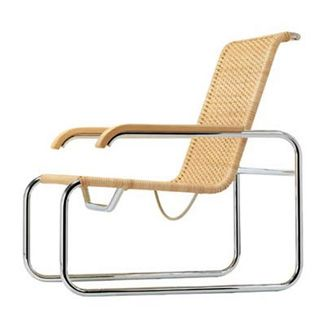 Marcel Breuer, Germany, 1928  Breuer's lounge chair is directly related to his Cesca chair in the shaping of the tubular frame and the wooden armrests. On the other hand the cane-seat construction IS closer to Mies van der Rohe's MR chair. Th is chair was only produced for ten years and put back Into production In 1970.
