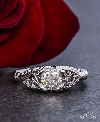 Cushion Cut Platinum  Filigree Twist Engagement Ring Green Lake Jewelry