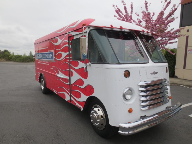 1964 Grumman GMC Aluminum Step Van Food Truck with Flames by Food truck fabricator Blackrock and designer and supplier Bargreen Ellingson. (Front View)