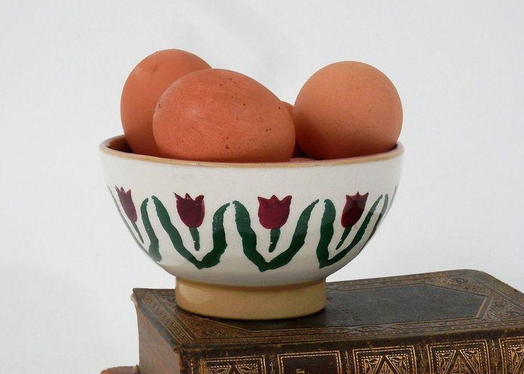 Irish Pottery Bowl NIcholas Mosse Han Painted Sponge Paint Design Red Tulip