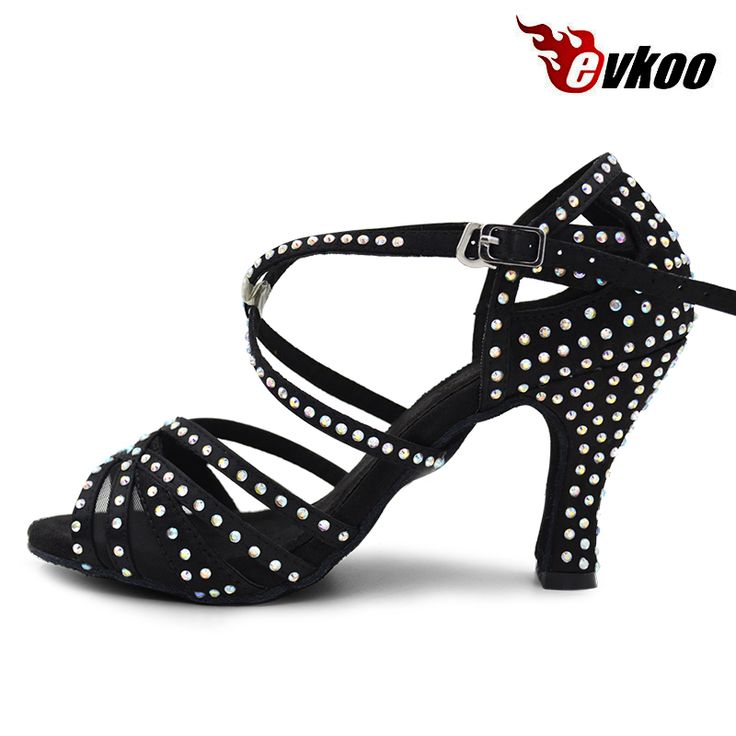 Evkoodance Professional Zapatos De Baile Latino Black With Rhinestone Heel Height 8cm Women Latin Salsa Dance Shoes Evkoo-412 #Affiliate