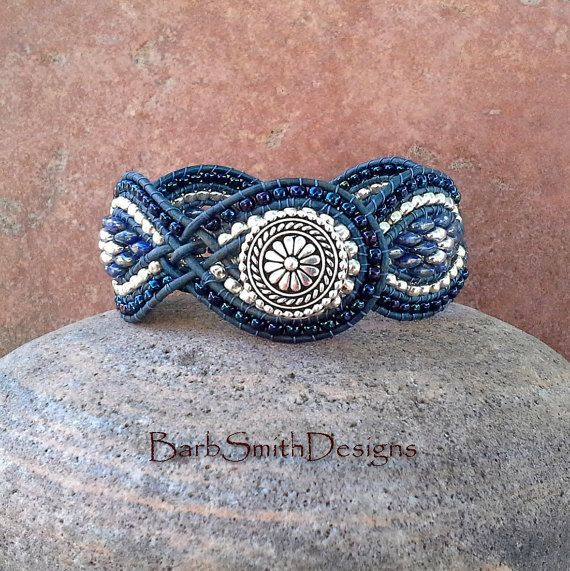 Blue Silver Superduo Wrap Cuff Bracelet - The Twisted Sister in Denim