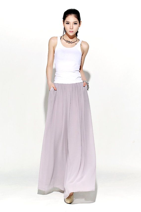 Graceful Casual Wide leg Long Chiffon Pants in gray by YL1dress, $69.99 ETSY . The waist has no elastic, it has a zipper on the front side. 1.SIDE ZIPPER NOT ELASTIC WAIST 2. The fabric is polyester. 3. The lining color is same with the outside layer.