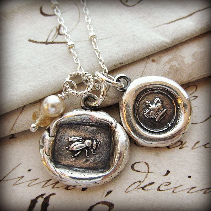 Queen Bee & Crown Wax Seal Charm Necklace
