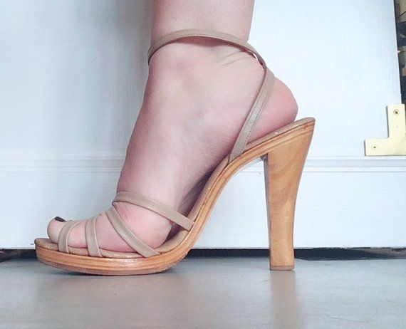 Size 39 synthetic beige suede strap at the back Platform straps with straps extra with a Jean 70s US 7.5,