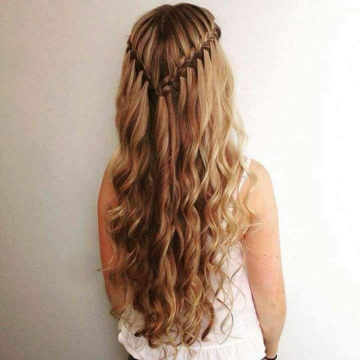 Beautiful Waterfall Braid In Wavy Hair Hair Styles Waterfall Hairstyle Cool Braid Hairstyles