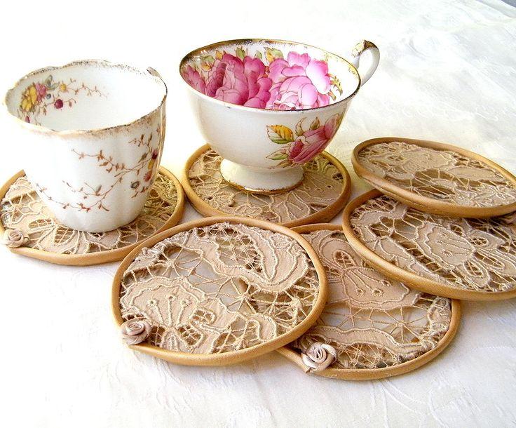 Crochet, lace - Cup Coaster set. Vintage fabric, tea color antique lace cups coasters. Set of 6 elegant pieces by Mintook.