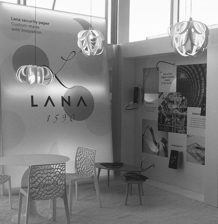 Création et conception du système visuel pour le stand :  LANA Security Printers — SEVILLE ( 5-7 octobre 2016)