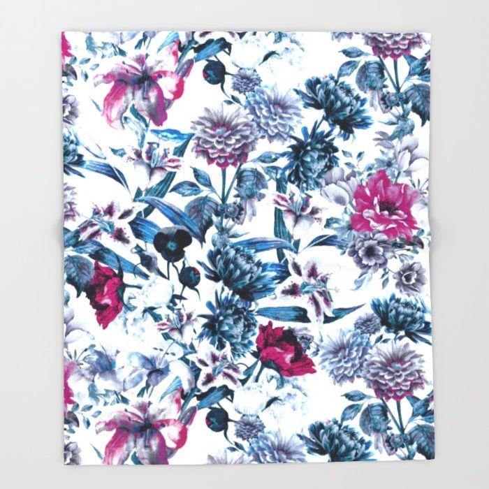 RPE FLORAL BLUE II Throw Blanket #floral #blue #red #home #interior #artist #design