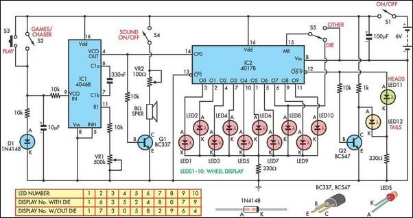 Electronic roulette circuit schematic