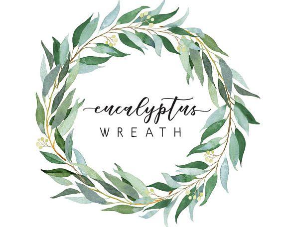 Eucalyptus Wreath Watercolor Illustration Wedding Greenery