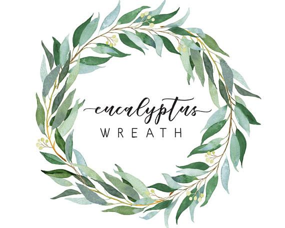 Eucalyptus Wreath Watercolor Illustration Wedding Greenery