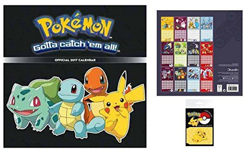 Pokemon Official Calendar 2017 (12×12 inches) And 1x Credit Card Holder Wallet For Fans Collectible (4×3 inches) – Pokemon Calendar