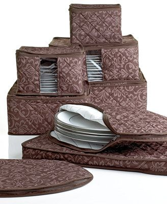 Homewear Fine China Storage Set, 8 Piece Chocolate Hudson Damask