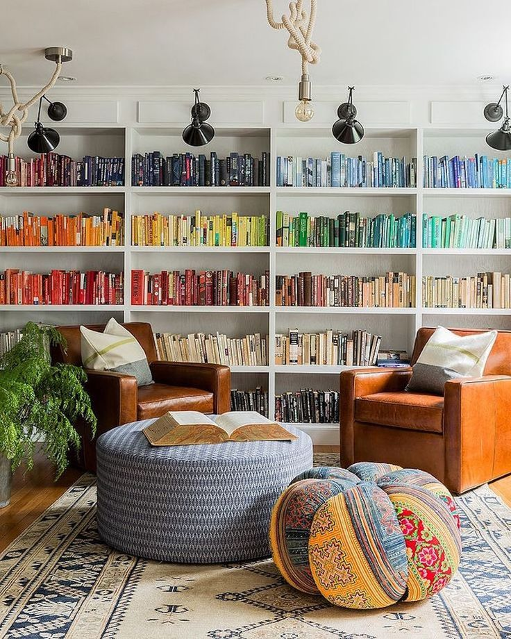 Organizing by color = best of both left and right brain desires...10 Best Home Libraries