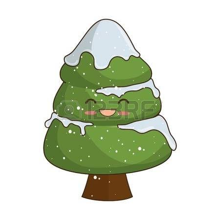 pine tree: pine tree cartoon happy face decoration christmas symbol. vector illustration Illustration