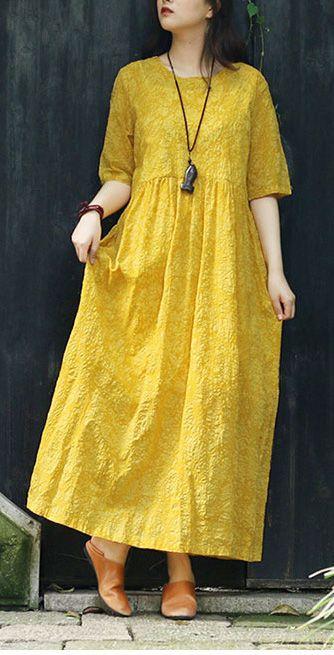 5f24738e4259d2 Women yellow print cotton clothes For Women Mom Outfits v neck tie waist  Kaftan Summer Dress