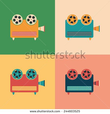 Colorful set of retro video projectors. #retro #retroicons #flaticons #vectoricons #flatdesign