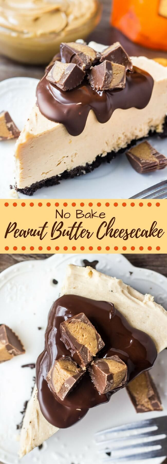 This no bake peanut butter cheesecake has an Oreo cookie crust, creamy peanut butter flavor, and Reese's peanut butter cups. So easy and only 15 minutes to make!