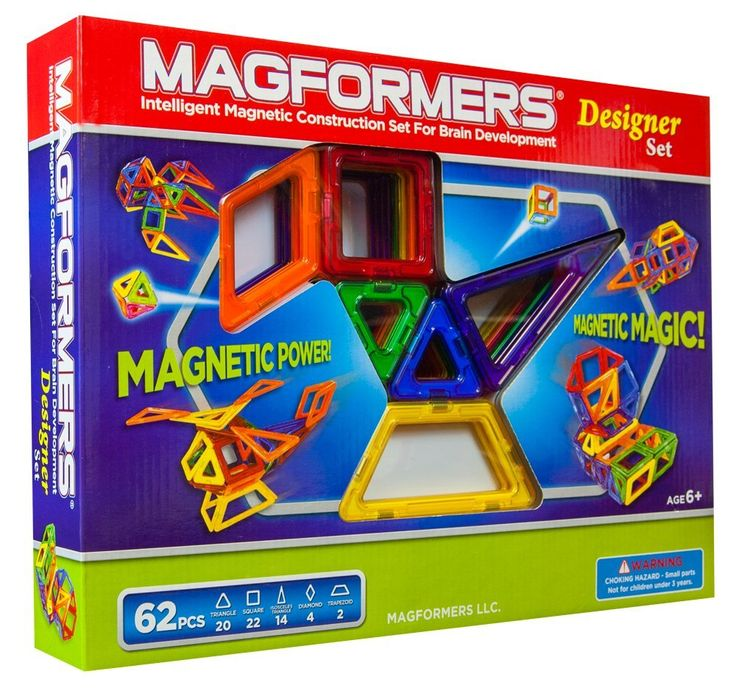 Amazon.com: Magformers Magnetic Building Construction Set - 62 Piece Designer Set: Toys & Games