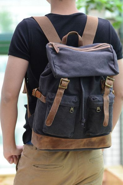 Backpacks – handmade canvas and genuine leather backpack       – a unique product by eazo on DaWanda