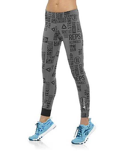 "Gear Gone Wild: 10 Pairs of Printed Workout Pants: Beyond the crackled print, lightweight jersey Lucy running leggings ($89) live up to the ""lightning"" hype — they offer reflective tabs on the hems to help keep you visible in the dark.  : In need of a little help to make it through those final reps? These PWR Reebok leggings ($60) are covered in extra motivation."