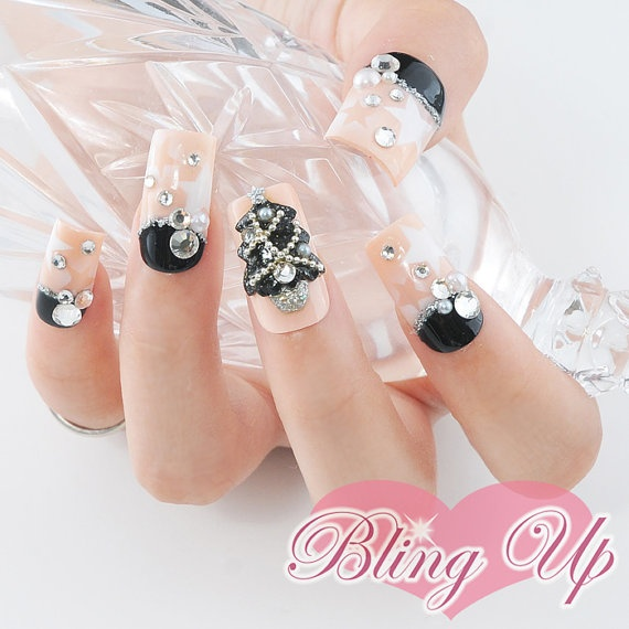 Japanese Nail Art Air Brushed Nail Tips with 3D Black by ...