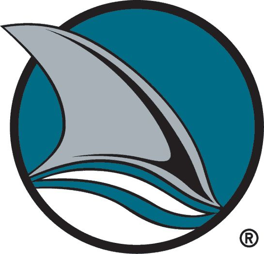 San Jose Sharks Alternate Logo (1992) - A Shark fin in a teal and black circle