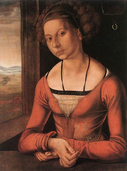 Albrecht Dürer,  Portrait of a Young Woman (Katharina Fürleger), 1497, Gemäldegalerie, Staatlich Museen, Berlin.