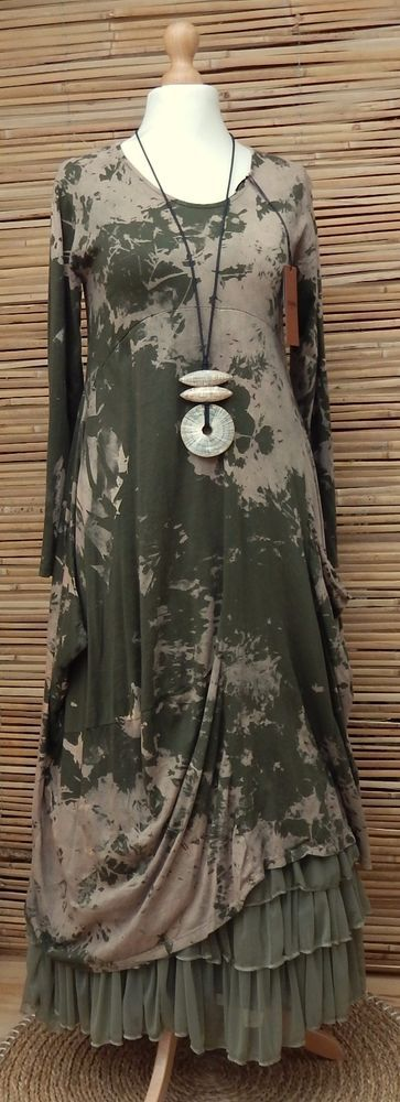 LAGENLOOK COTTON BEAUTIFUL ASYMMETRICAL QUIRKY PRINT DRESS*KHAKI/BEIGE*SIZE S-M