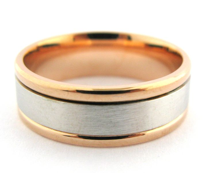 reminiscent of the one ring rose and white gold mens wedding band polished rails - The One Ring Wedding Band