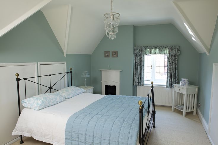 Walls in Farrow & Ball Green Blue  Ceiling in Wimborne White