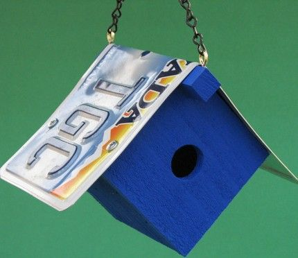 how to make a license plate bird house