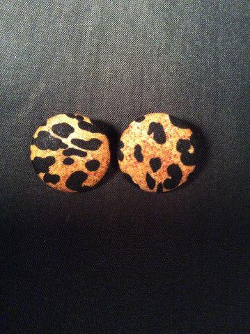 Animal Print (Leopard) Button Earrings (1-1/8)