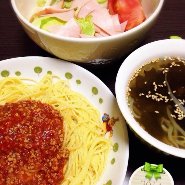 26.05.18 - 7件のもぐもぐ - ミートソーススパゲティ☆サラダ☆スープ by mikaogihar7Yh