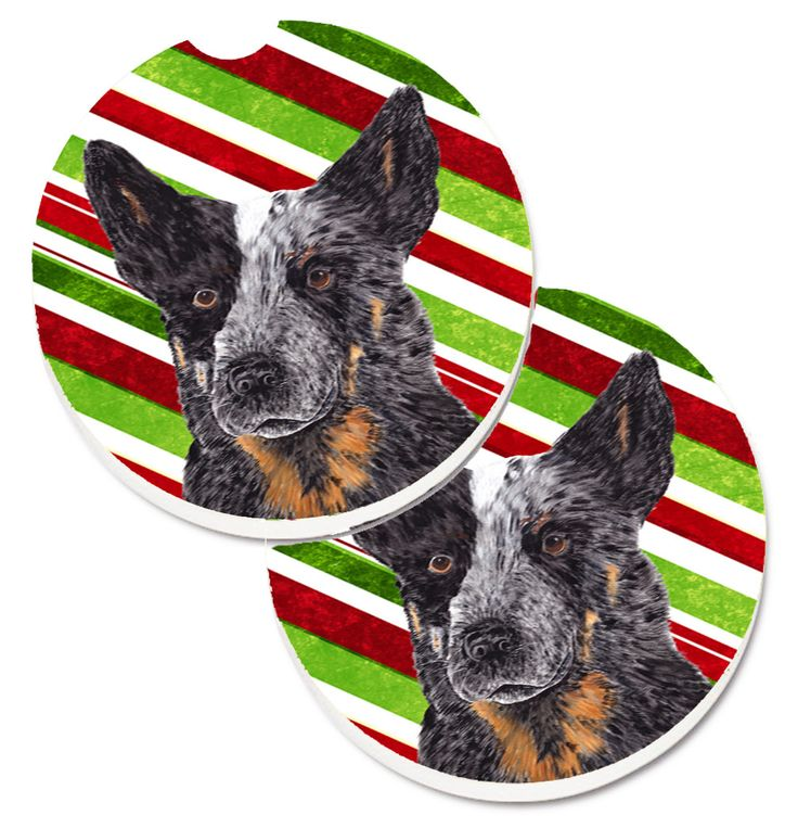 Australian Cattle Dog Candy Cane Holiday Christmas Set of 2 Cup Holder Car Coasters SC9356CARC