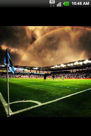 I was at this game! It hadn't rained for probably a month then right whenever we got to the stadium to started pouring and hailing. We didn't leave the stadium until midnight because of he delay! But we won so it was worth it :) #SKC