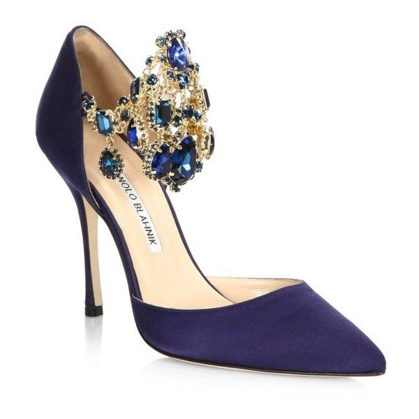 Manolo Blahnik Zullin JewelCuff Satin Pumps (£1,060) ❤ liked on Polyvore featuring shoes, pumps, navy, navy blue satin shoes, navy pointed toe pumps, pointy-toe pumps, embellished shoes and navy blue shoes