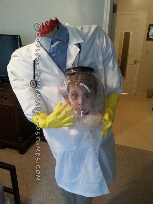 kids not so scary doctor costume idea | Cool Illusion Costume Idea for a Boy: Doctor with his Head in a Jar!