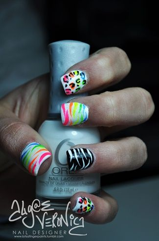 Neon Leopard and Zebra print Nails