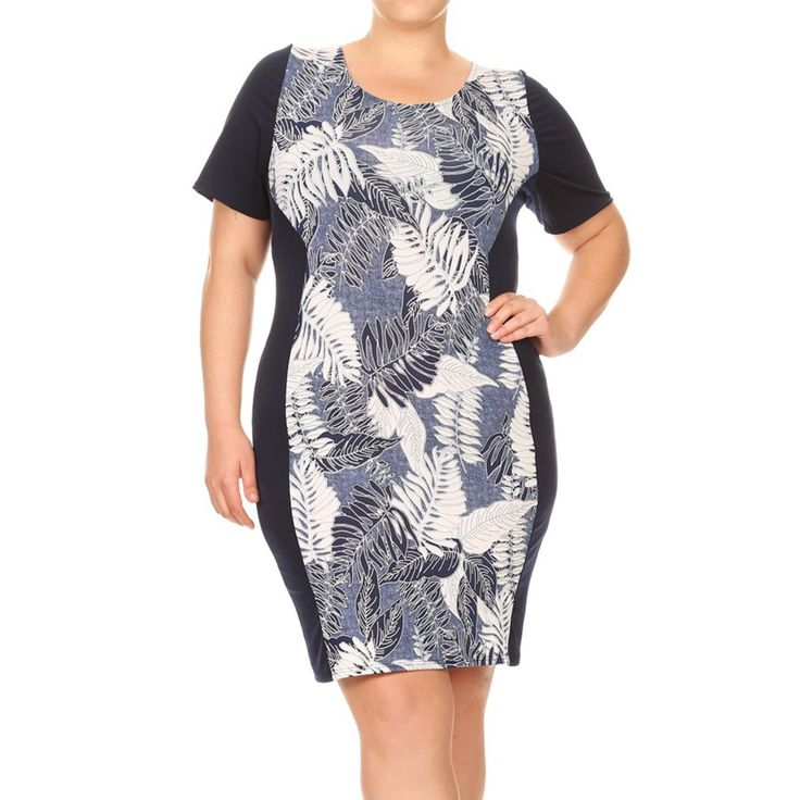 Women's Plus Size Botanical Pattern Bodycon Dress