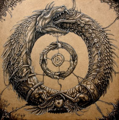 The Ouroboros is an ancient symbol depicting a serpent/dragon eating its own tail. The dragon is probably the oldest pictorial symbol in alchemy of which we have documentary evidence. It's the concept of infinity — of the end being also the beginning, and the eternal nature of the Universe. The Ouroboros often represents self-reflexivity or cyclicality, especially in the sense of something constantly re-creating itself, the eternal return. Ouroboros is a very common symbol in alchemy and…